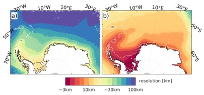 Figure 7: Examples for low (a) and high (b) FESOM resolution in the Weddell Sea on a logarithmic colour scale.