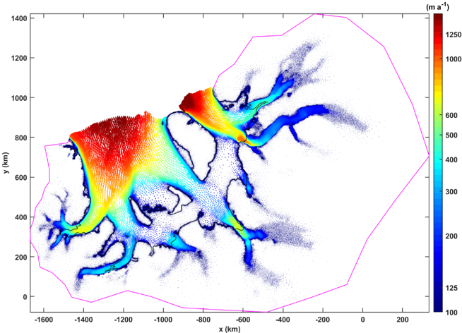 Figure 8: Example of ice ice-flow velocities calculated for the Filchner-Ronne catchment area by the ice-flow model Úa.